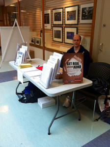 Pete Quily in Front of our ADHD Awareness Week Poster At The West End Community Center ADHD Awareness Week