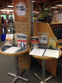 Photo of The Ladner Pioneer Library, Delta BC ADHD Awareness week book display photo 2013