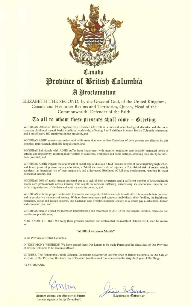 Proclamation BC lieutenant governor declares October ADHD Awareness month 2014 first province in Canada to do so