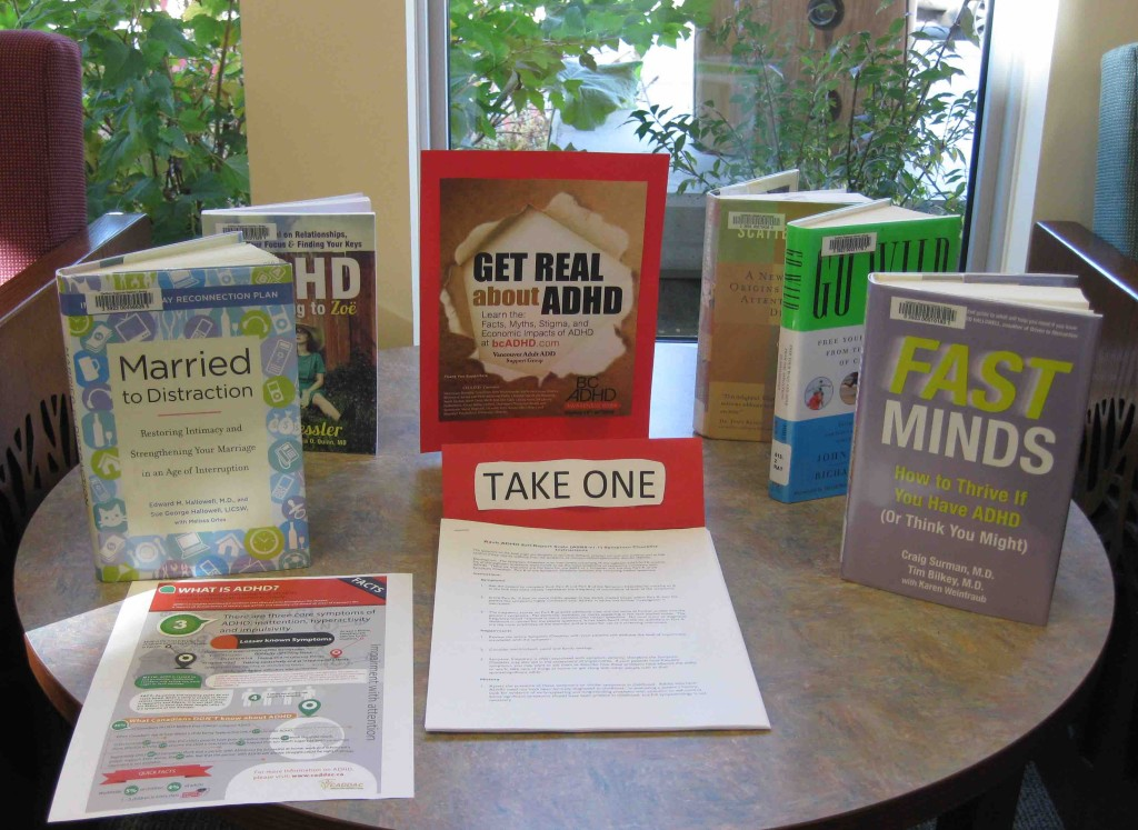 100 Mile House Branch Library BC ADHD Awareness week book display photo thanks Gina