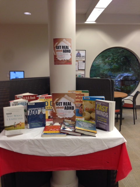Capilano (1) Library North Vancouver District Public Library BC ADHD Awareness week book display photo 2015 Thanks Meghan