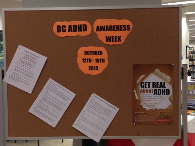 Capilano (2) Library North Vancouver District Public Library BC ADHD Awareness week book display photo 2015 Thanks Meghan