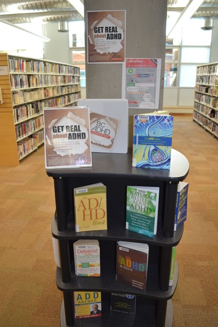 Lynn Valley Library North Vancouver District Public Library BC ADHD Awareness week book display photo 2015 Thanks Meghan