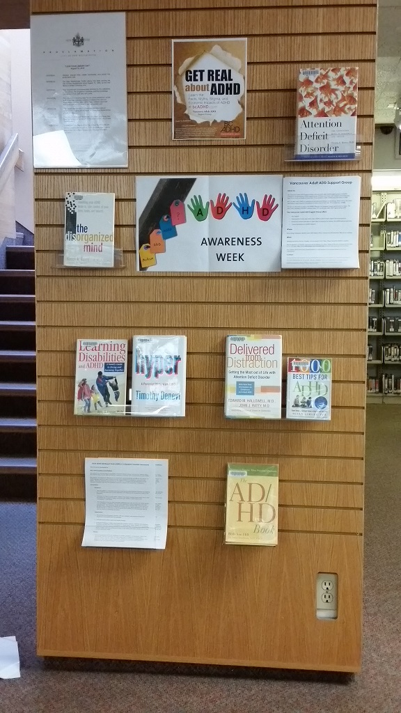New Westminister Public Library BC ADHD Awareness week book display photo 2015 thanks Kate