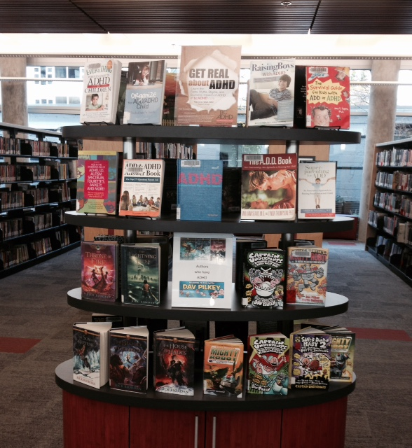 North Vancouver City Library @northvancitylib BC ADHD Awareness week book display photo 2015 Thanks Patricia