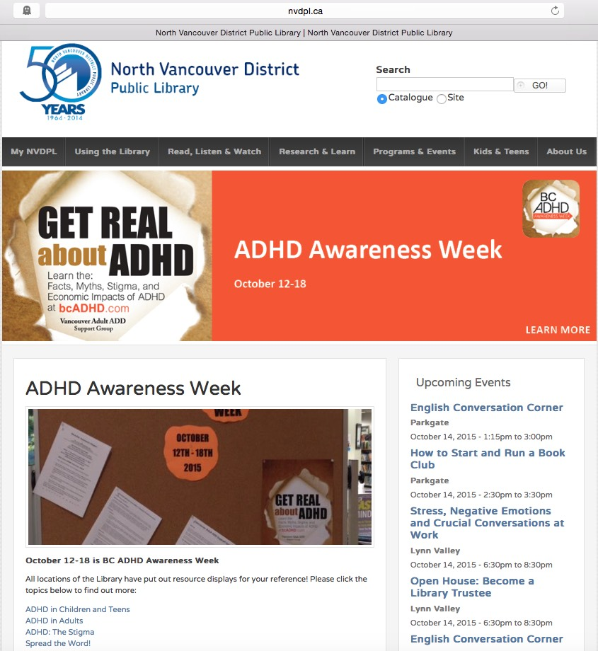 North Vancouver District Library home page 2015 BCADHD Awareness Week poster and banner