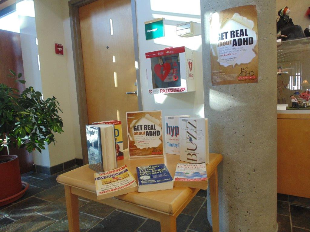 Parkgate Library North Vancouver District Public Library BC ADHD Awareness week book display photo 2015 Thanks Meghan