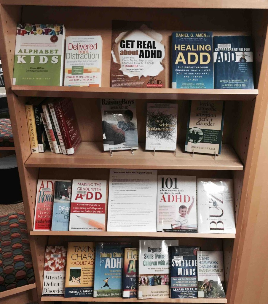 West Vancouver Memorial Public Library 2015 BC ADHD Awareness week book display Thanks Ehlam