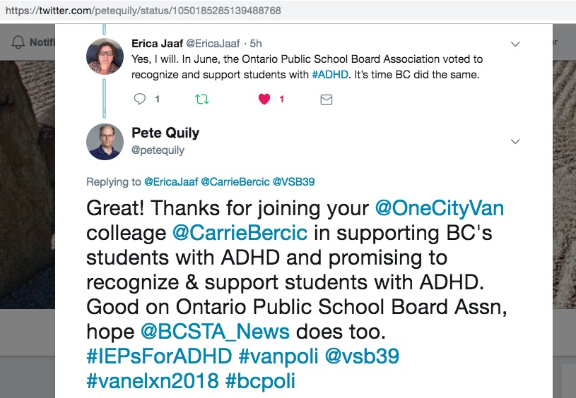 Erica Jaaf of One City Vancouver supports #IEPsForADHD 2