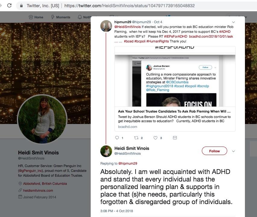 Heidi Smit Vinois tweet supporting #IEPsForADHD