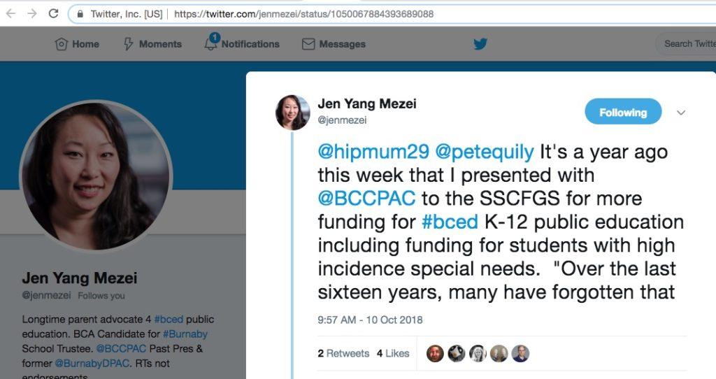 Jen Yang Mezei Burnaby Citizens Association School Trustee supports #IEPsForADHD 1