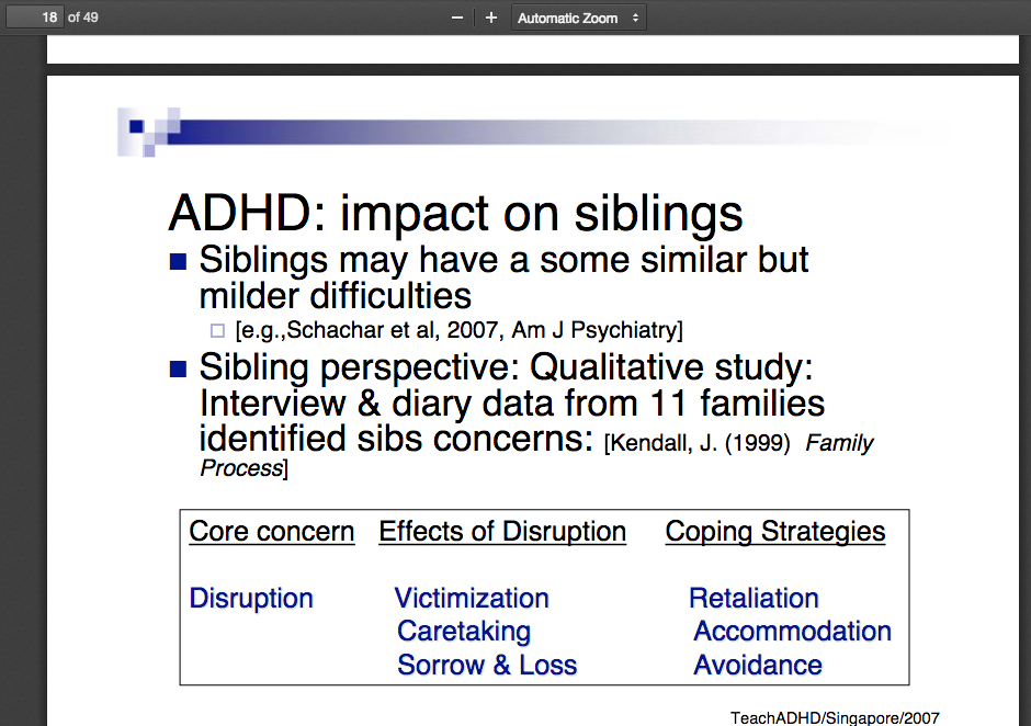 ADHD- Impact on Siblings Dr. Rosemary Tannock. http-::psych.hsd.ca:ADHD